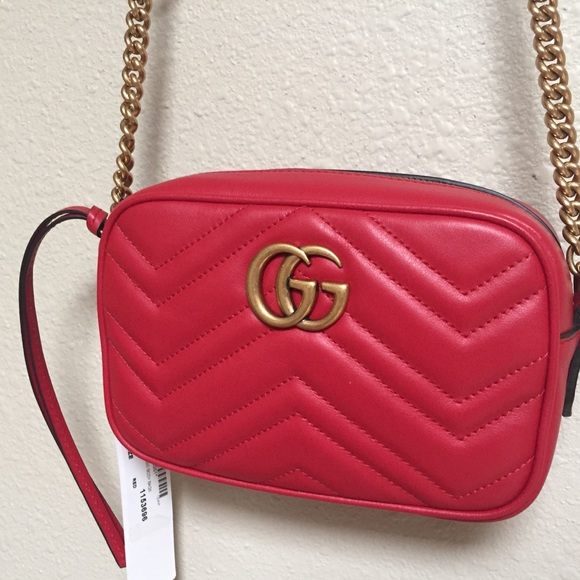 5858b237aee9 Gucci Bags | Brand New Gg Marmont Camera Bag Red | Poshmark